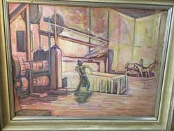 Nagyméretű 1930 -as Festmény Gyári Életkép