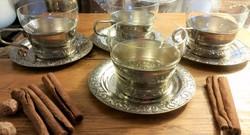 4 darab orosz teás pohártartó üvegbetéttel és alátéttel