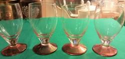 Retro - 4 db.Irizáló talpú likőrös pohár