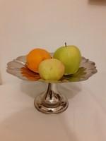 Gyönyörű fém talpas asztalközép, gyümölcsös, süteményes kínáló