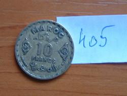 MAROKKÓ MOROCCO 10 FRANCS 1952 (a) c+w AH1371 c,Párizsi pénzverde #405