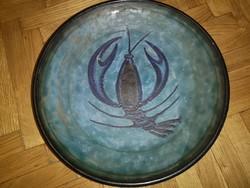 Fodor Ilda keramikus falitányér rákkal, 36 cm