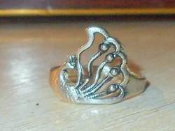 PÁVA mint.Tibeti ezüst kézműves gyűrű 7-8 - as 2 sz.