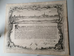 18. századi sebészi céhlevél latin nyelvű - Komárom, Komárno 1786.