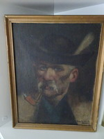 Sziklai Lajos: Pipázó ember c. festménye.