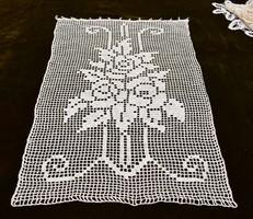 Horgolt csipke kézimunka lakástextil dekoráció kis méretű függöny 57 x 37 cm recehorgolás