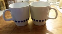 2 db ritka Alföldi porcelán kék pettyes,pöttyös csésze,pohár,nosztalgikus bögrék