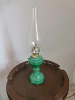 Gyönyörű,antik,türkiz,malachitos üveg petróleum lámpa