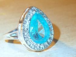 Akvamarin Kék kristály köves Csepp Tibeti ezüst Gyűrű 8.5-es