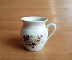 Cseh porcelán hasas ibolya mintás ibolyás bögre 10,5 cm (z-3)