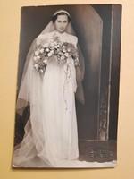 Retro fotó levelezőlap, menyasszony képeslap
