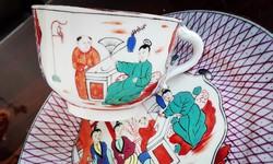Muzeális 1864-es Herendi SceeneChinoise mintás kávés csésze és csemege tányér