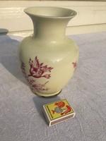 Retro Hollóházi porcelán virágos váza - virágtartó