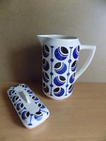 Ritka Francia art deco Badonviller porcelán mosdó kancsó kanna szappantartóval (pi-6p)