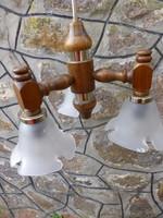 Ritka,retro,vintage,virág alakú üveg búrás fa csillár,3 karos