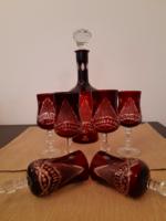 Metszett üveg italos készlet