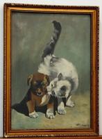 Kölyökkutya cicával, szignózott festmény