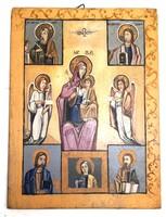 Mária a gyermek Jézussal, angyalokkal és evangelistákkal – Fára festett ikon – 24.