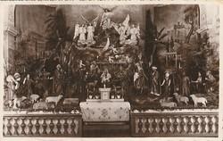 Régi képeslap - Betlehem a pécsi ferences templomban az 1930-as években