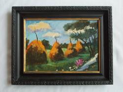 Nyári mezőt és boglyákat ábrázoló festmény