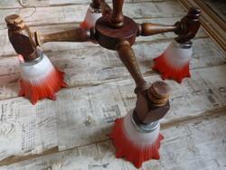 Ritka,retro,vintage,színes virág alakú üveg búrás fa csillár,4 karos