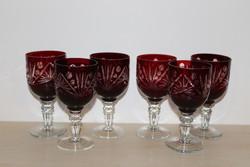 Csiszolt bordó likőrös pohár készlet