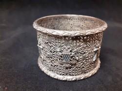 Csodálatos, ezüstözött szalvétagyűrű, Bretagne címerével, jelképével, aprólékos kidolgozás