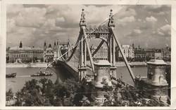 Régi képeslap, Budapest - Erzsébet híd