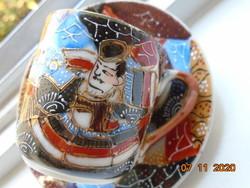 Meidzsi Satsuma Kyoto Moriage tojáshéj porcelán mokkás csésze alátéttel kézi jelzés