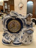 Japán porcelán kandalló óra Landex órával