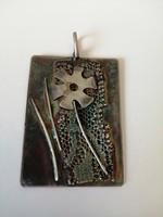 Absztrakt mintás kézműves ezüst nagy méretű medál
