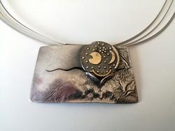 Nap-hold kézműves ezüst nyakék