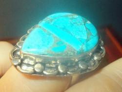 Türkiz köves Tibeti ezüst Uniszex kézműves Gyűrű 8-as