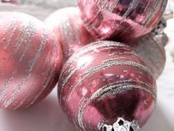 Régi üveg gömb karácsonyfa díszek 6db