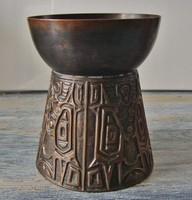Retro, iparművészeti bronz gyertyatartó