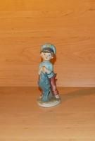 Capodimonte porcelán Hummel jellegű porcelán halászfiú figura 12,5 cm (po-3)