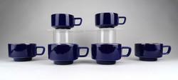1D057 Jelzett aranyozott kobaltkék porcelán kávéskészlet 6 darab