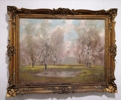 Kézdi Kovács László (1864-1942) Tájkép c.olajfestménye 120x90 cm