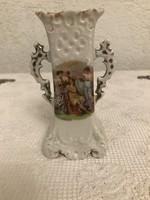 Antik porcelán kétfüles jelenetes váza.