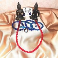 Ásvány ékszerek nyaklánc karkötő gyűrű kék fülbevaló buddha