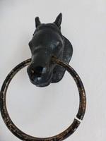 Antik kovácsolt vas lovas,ló alakú,lófejes kopogtató