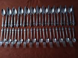 Orosz, ezüstözött alpakka 12 személyes étkészlet, új.
