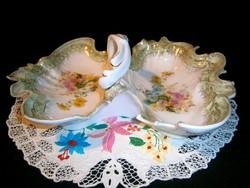 E_011 Antik, kb. 150 éves nagy méretű csodálatos Carl Tielsch porcelán asztalközép, kínáló tál