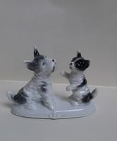 4223 - Kutya-macska barátság, német porcelán