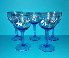 Régi festett kék üveg talpas boros pohár készlet 13,5 cm (z-1)