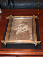 Antik súlyos réz képkeret, családi fotóval