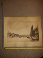 Zádor Istvàn: Dunaparti tornyok, rézkarc