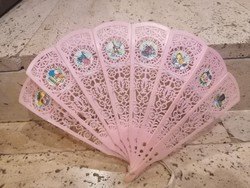 Régi rózsaszín legyező, retro gyermekjáték