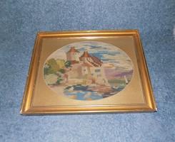 """Gobelin goblein """"vár"""" kép üvegezett képkeretben 39*48,5 cm"""