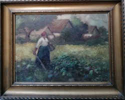 Pádly Aladár (1881-1949) Káposzáskertben